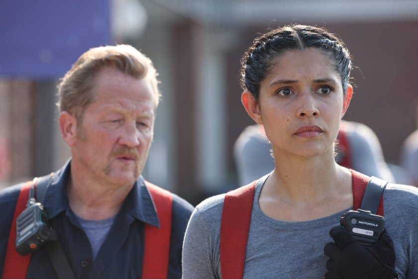 """CHICAGO FIRE -- """"Mayday"""" Episode 1001 -- Pictured: (l-r) Christian Stolte as Randall """"Mouch"""" McHolland, Miranda Rae Mayo as Stella Kidd -- (Photo by: Adrian S. Burrows Sr./NBC)"""