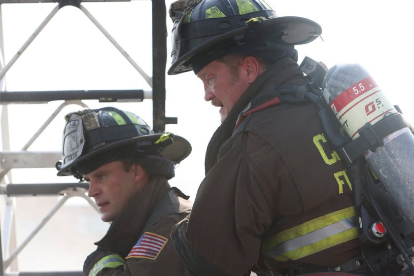 """CHICAGO FIRE -- """"Mayday"""" Episode 1001 -- Pictured: (l-r) Jesse Spencer as Matthew Casey, Christian Stolte as Randall """"Mouch"""" McHolland -- (Photo by: Adrian S. Burrows Sr./NBC)"""