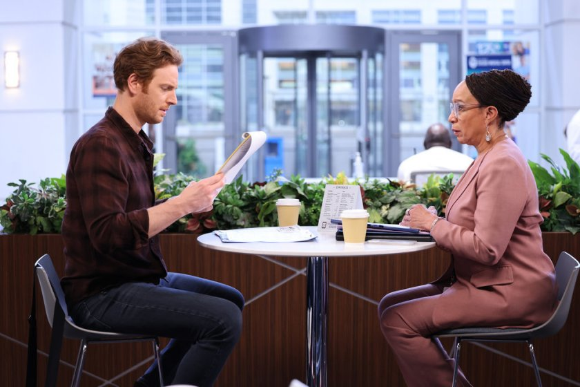 """CHICAGO MED -- """"Status Quo, aka The Mess We're In"""" Episode 704 -- Pictured: (l-r) Nick Gehlfuss as Dr. Will Halstead, S. Epatha Merkerson as Sharon Goodwin -- (Photo by: George Burns Jr/NBC)"""