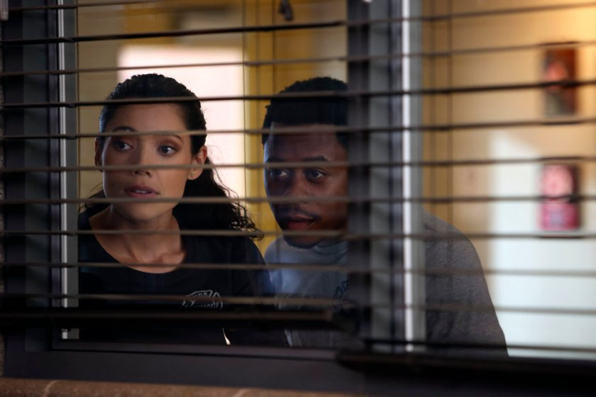 """CHICAGO FIRE -- """"The Right Thing"""" Episode 1004 -- Pictured: (l-r) Hanako Greensmith as Violet. Daniel Kyri as Darren Ritter -- (Photo by: Adrian S. Burrows Sr./NBC)"""