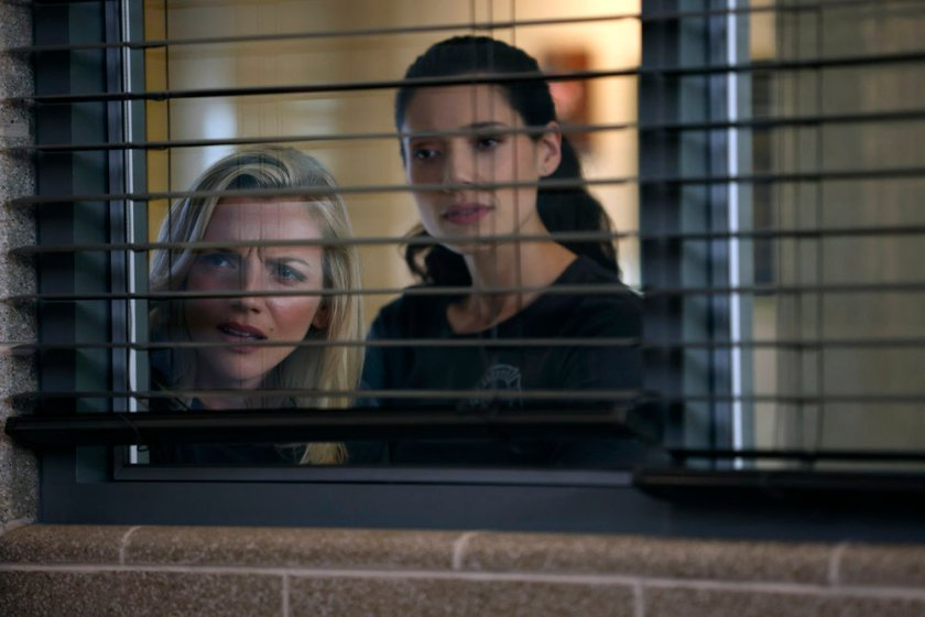 """CHICAGO FIRE -- """"The Right Thing"""" Episode 1004 -- Pictured: (l-r) Kara Killmer as Sylvie Brett, Hanako Greensmith as Violet -- (Photo by: Adrian S. Burrows Sr./NBC)"""
