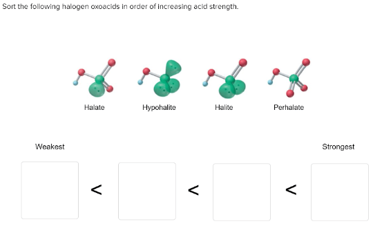 Sort the following halogen oxoacids in order of increasing