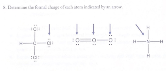 8. Determine the formal charge of each atom indicated by