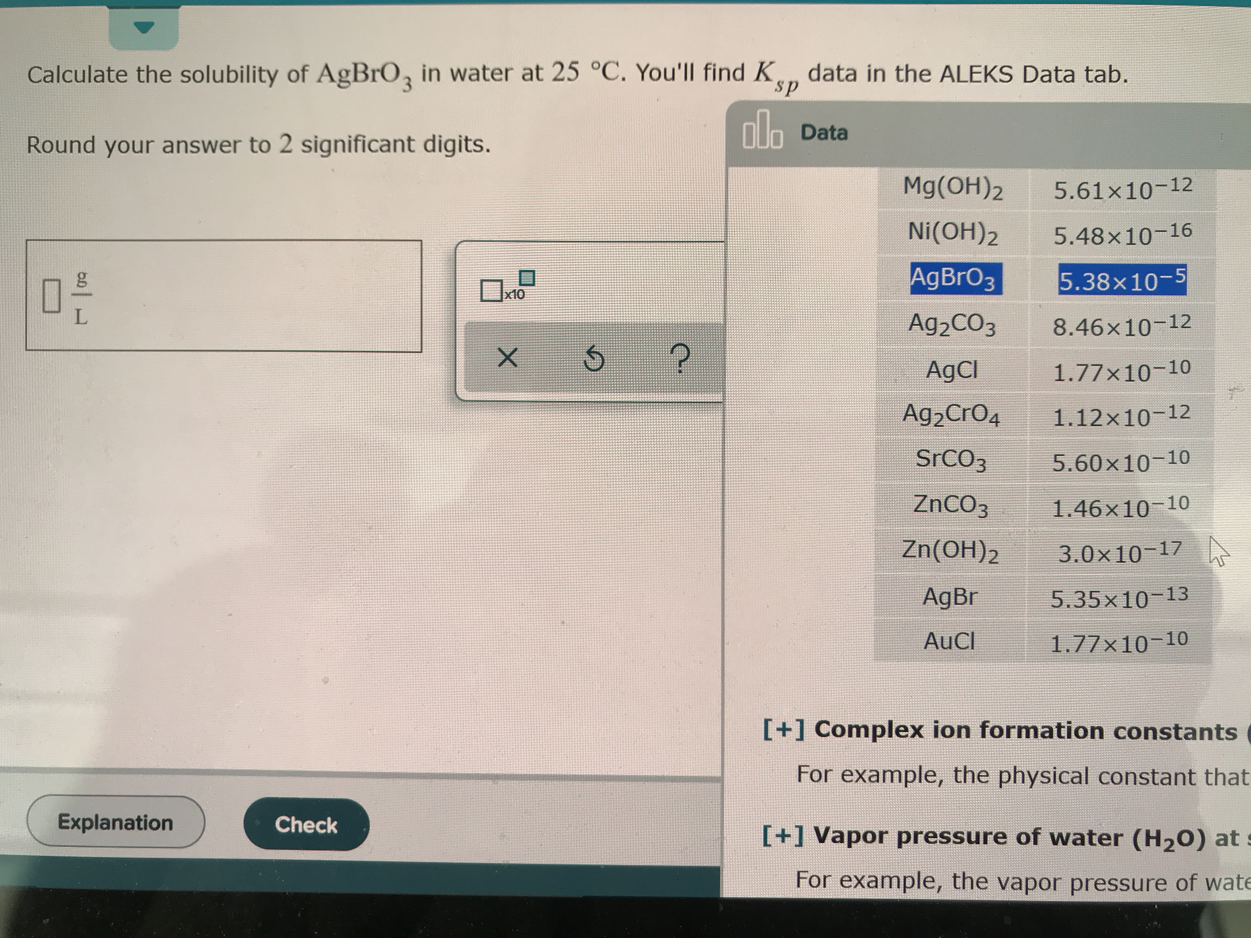 Calculate The Solubility Of Agbro3 In Water At 25c You Ll