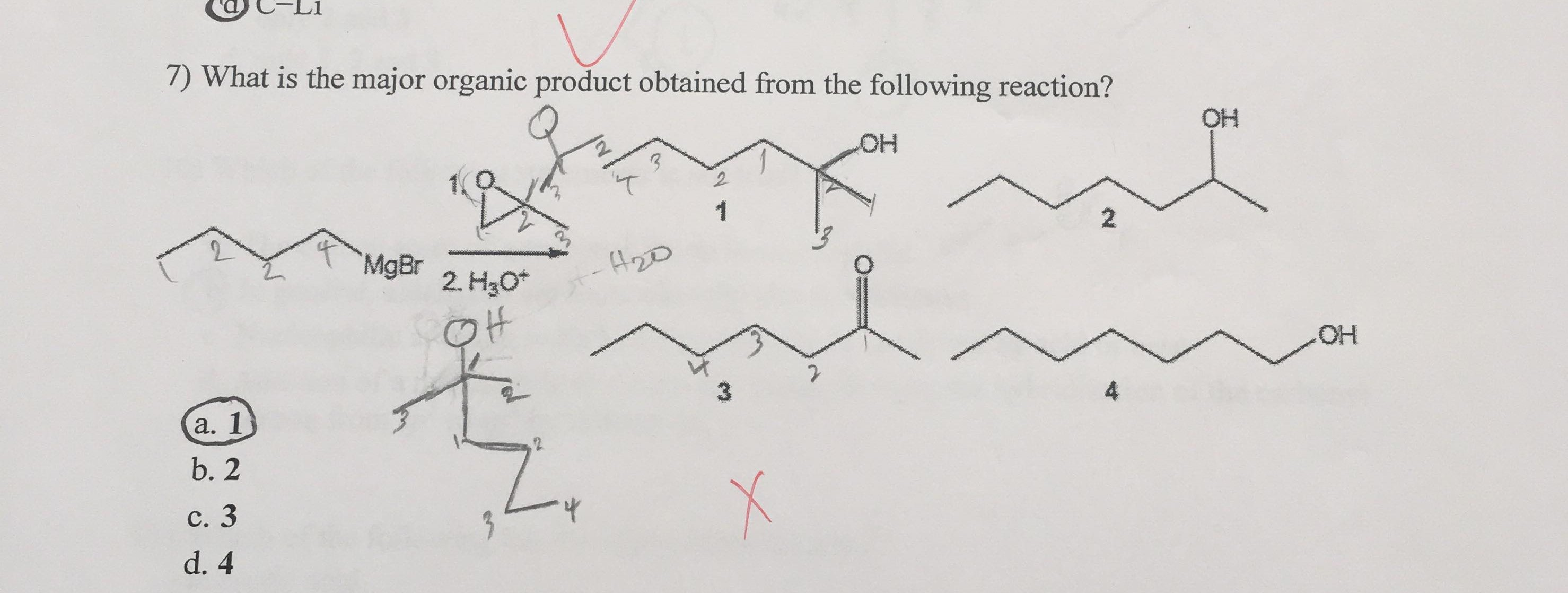 What is the major organic product obtained from the