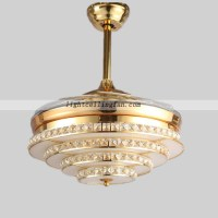 Crystal LED ceiling fan light with Acrylic fan blade ...