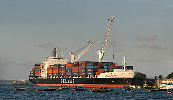 English: A Delmas operated Container ship NICO...