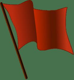 A stylized representation of a red flag, usefu...