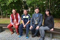 "Mayor of Ennis Cllr Johnny Flynn with the three keynote speakers from the ""Be The Best That You Can Be"" motivation seminar at Glór, Ennis, Co. Clare, on Wednesday, 17 September 2014. Pictured L-R: Borris Hunka, co-ordinator Music Generation Limerick, Davy Fitzgerald, Manager Clare Senior Hurling Team, Cllr Johnny Flynn Mayor of Ennis, and Hannagh Mc Ginley, NUIG. Photograph Catherine O'Hara"