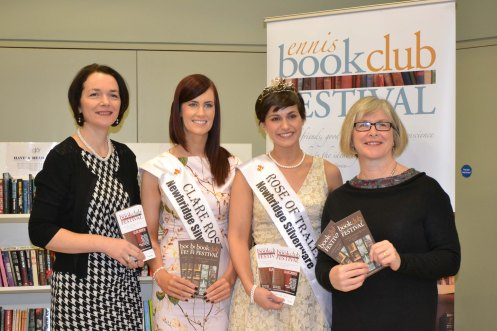 Clare Rose Joanne O'Gorman and Rose of Tralee Maria Walsh pictured with representatives of the Ennis Book Club Festival Committee. Credit Catherine O'Hara