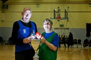 Joe Devine,West Clare and Angela Donovan, Kilrush taking part in the Go For Life Games at Inagh Community Centre.The overall aim of Go for Life is to get older people more active, more often. The aim of the Go for Life Games is to involve older people in recreational sport. The games are run with the support of Clare Sports Partnerships and the HSE..Pic Arthur Ellis.