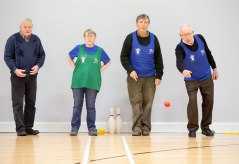 L-R Russell Donovan, Angela Donovan, Tom Kilkenny and Joe Devine taking part in the Go For Life Games at Inagh Community Centre.The overall aim of Go for Life is to get older people more active, more often. The aim of the Go for Life Games is to involve older people in recreational sport. The games are run with the support of Clare Sports Partnerships and the HSE..Pic Arthur Ellis.