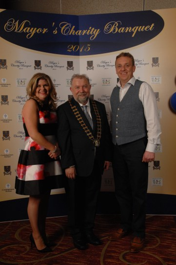 Pictured with Cathaoirleach, Cllr. John Crowe at the Mayor's Charity Banquet at the Treacy's West County Hotel were Claire and Shane Bannon of Indigo Signs, Smithstown, Shannon. Pic by Terry O'Brien