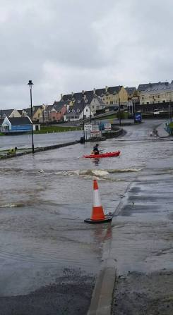 Flooding in Kilkee, County Clare. Pic Tony Burke