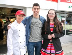 Pictured at the Official Rebranding of the SPAR Express in Bunratty Co Clare is Fair Citys Ryan Andrews with Niamh O'Connor (left) and Megan Higgins, Bunratty.Pic Arthur Ellis.