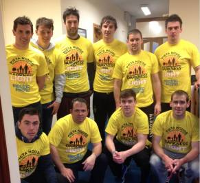 The Clare Senior Hurling team show their support.
