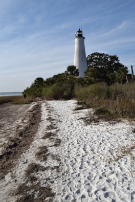 The 1842 St. Marks Lighthouse, located in the St. Marks Wildlife Refuge, has survived many hurricanes. Copyright Candace Cllifford, 2015