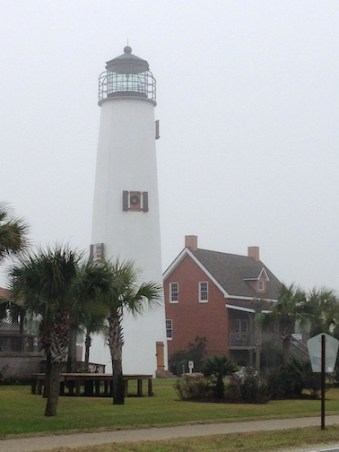 The reconstructed Cape St. George tower with its replica keepers greets you as you arrive on St. George Island. Copyright Candace Clifford 2015