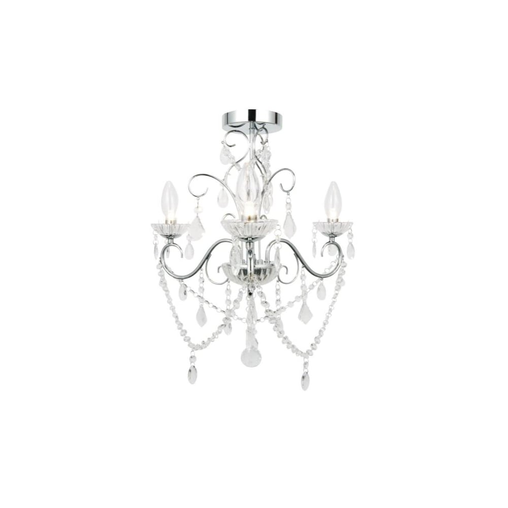 Bathroom Chandelier Lighting Vela Luxury 3 Light Bathroom Chandelier In Polished Chrome And Crystal Effect Glass