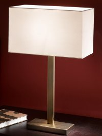TL876/9867 Rectangle table lamp, bronze & off white shade ...