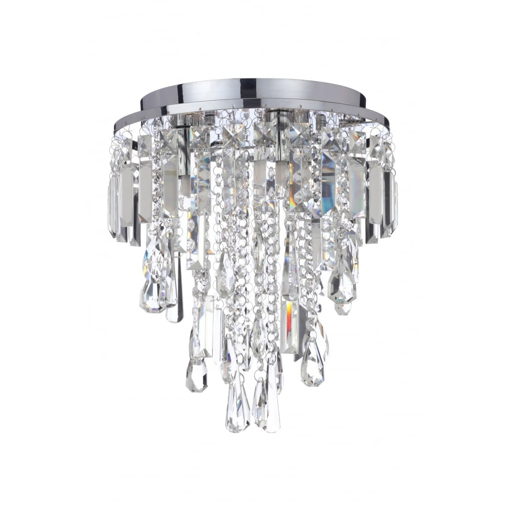 Bathroom Chandelier Lighting Bresna Flush Fit Chrome And Crystal 3 Light Bathroom Chandelier