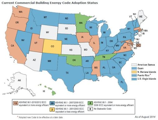 Status of adoption of commercial building energy codes as of August 2014. Source: Energycodes.gov