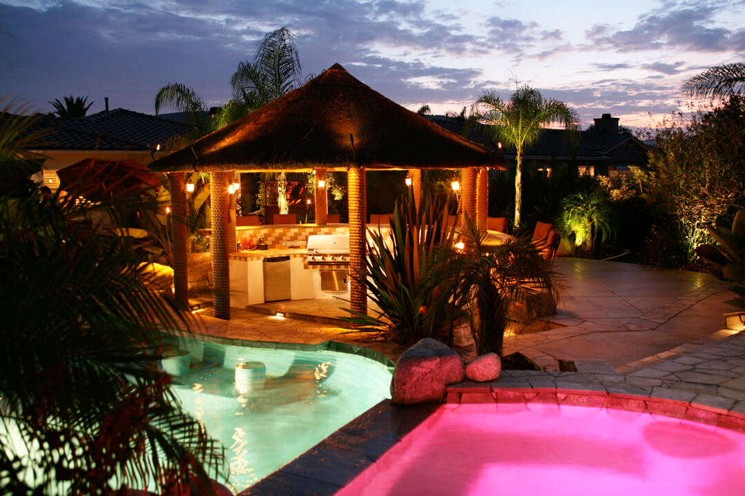 Different color pool lighting combination