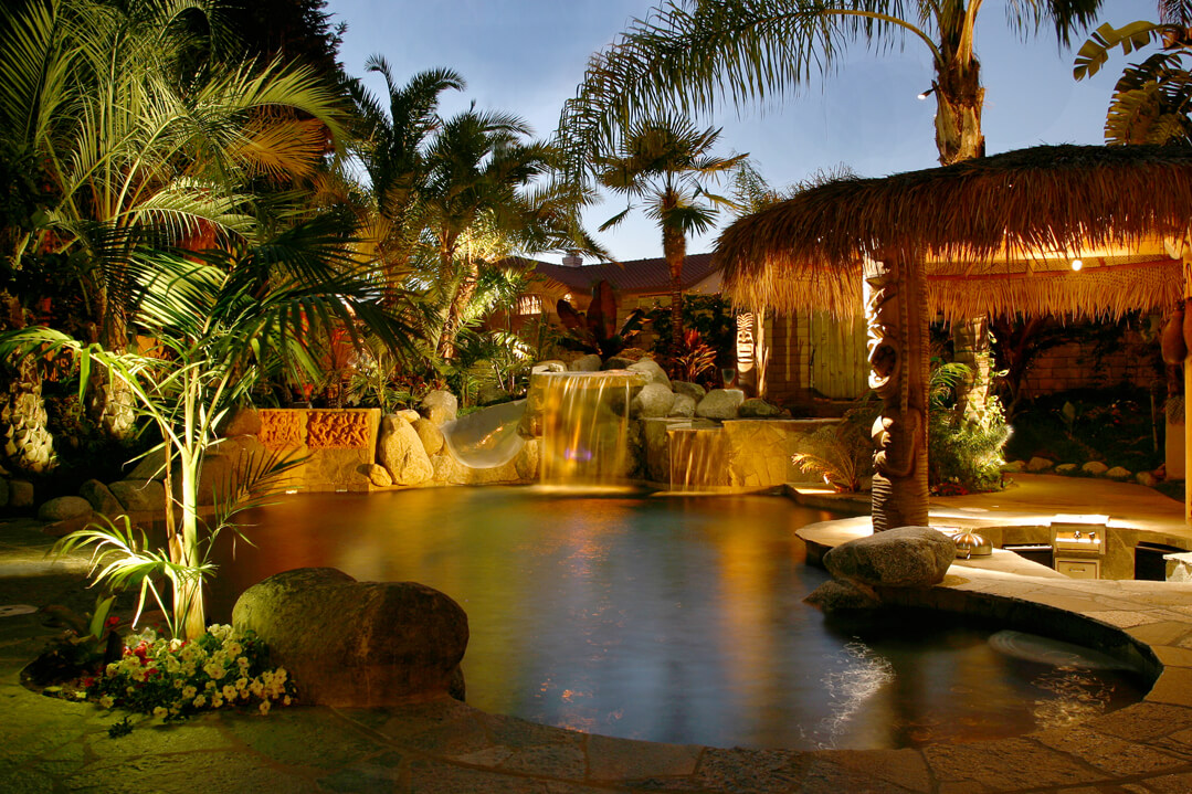 Water feature pool lighting