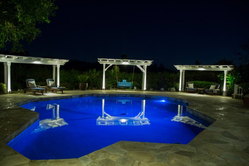 lighting features and pool