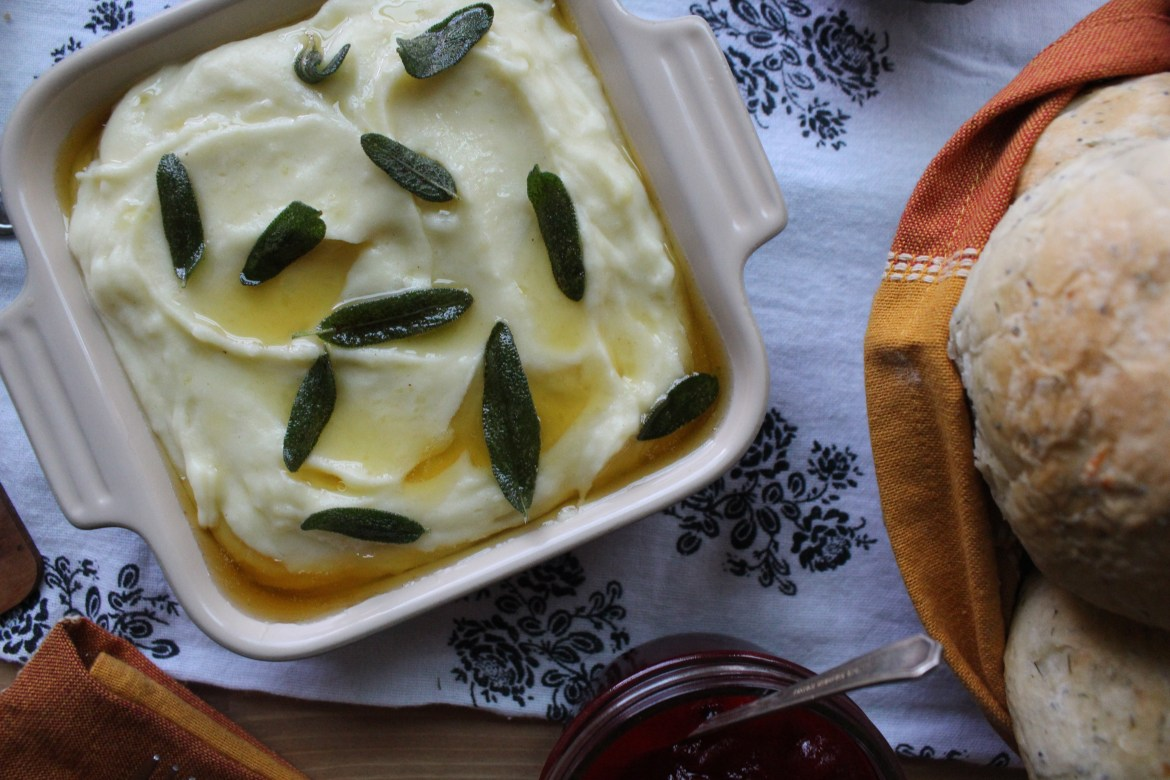 Countdown to Thanksgiving- Roasted Garlic Mashed Potatoes with Sage Brown Butter
