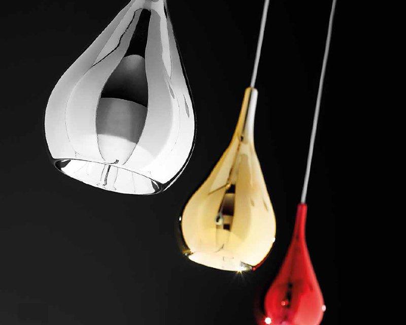Altri disegnano paralumi di vetro colorato in stile retrò. Gocce S1 Sil Lux Lampadario In Vetro Colorato Lightinspiration It