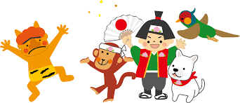 "In the folklore ""Momotaro"", the hero Momotaro, along with his 3 animal companions, head to Onigashima to quell the oni (demons) there. Nowadays it is not unusual for the oni (far left) to look somewhat ""cute"" in children's tales."