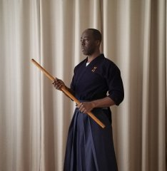 This is a sanshaku bō (3-shaku staff). Half the size of a rokushaku bō, which is too short in reach and light in balance.