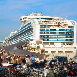 Huge passenger ship and many people