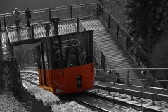 The rack railway on it's way up the Schlossberg, Graz, Austria.