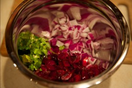 Step 1: Combine cherries, onions, cilantro and lime juice.