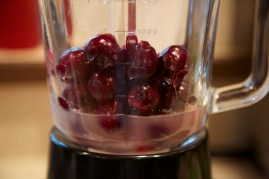 Step 1: Combine cherries, lemon juice and sugar in a blender