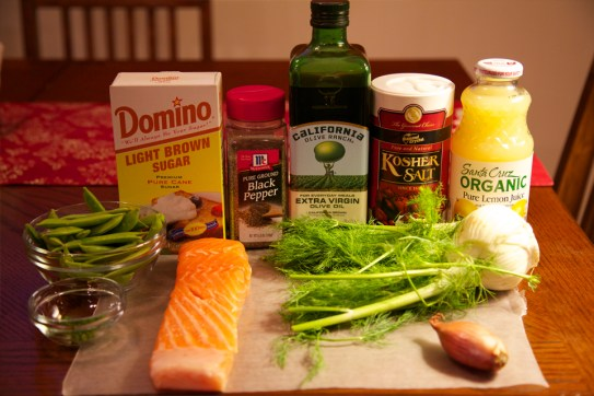 Ingredients for Seared Salmon with Sugar Snap-Fennel Slaw