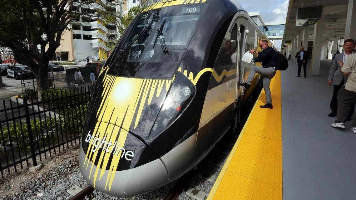Passengers boarded the Brightline train at a station after its launch last month. After its initial launch, Brightline is seeking to expand into Miami-Dade county.