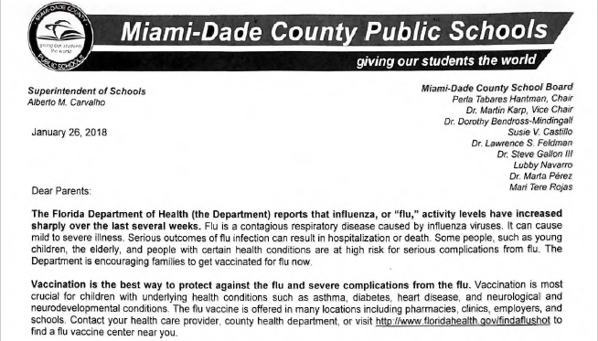 Amid+rising+concerns+about+flu+season%2C+MDCPS+is+taking+precautions+to+prevent+the+spread+of+the+disease.+Principal+Allison+Harley+signed+and+sent+home+a+letter+to+parents.