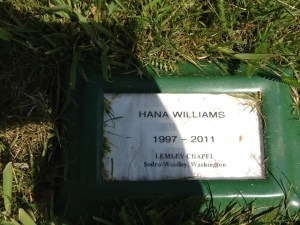 Marker at Hana's grave