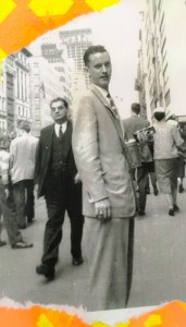 Dad s a young man in New York (I think), with his Boston College ring on this right hand and his beloved camera in his left.