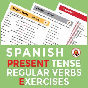 Spanish Present Tense Exercises for 20 Regular Verbs