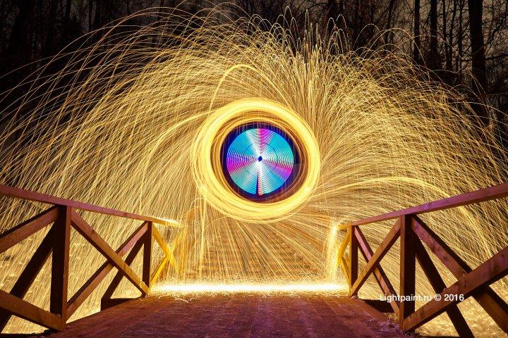 Fire fractals - стальная шерсть и светодиодный инструмент