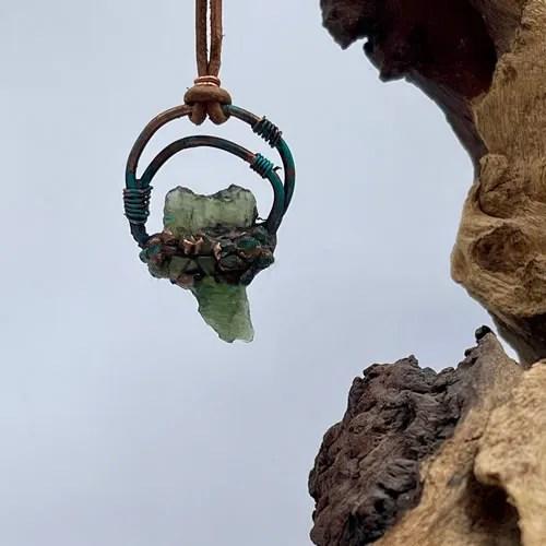 Moldavite And Peridot Pendant