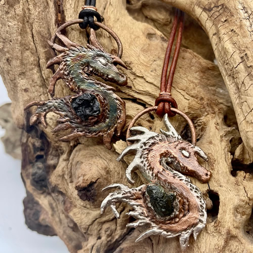 Copper, Silver & Moldavite Dragon Pendant