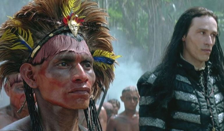 A photograph of Utapán: the Native American who befriended and allied Christopher Columbus in 1492, standing next to villain Adrian de Moxica
