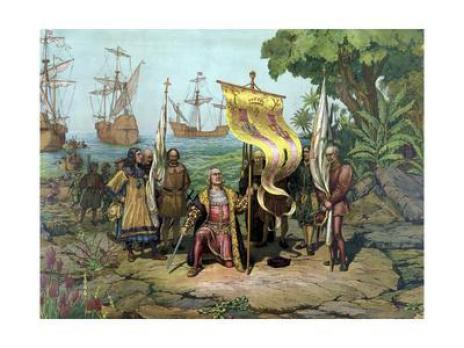A painting of Christopher Columbus and his man landing on the island of Hispaniola and planting their flag in the ground