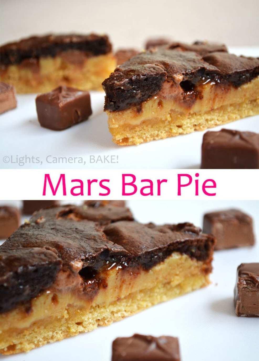 Mars Bar Pie. Ooey, gooey caramel chocolate pie packed full of mars bars! This is one of my all time favourites! #marsbarpie #pierecipe #chocolate