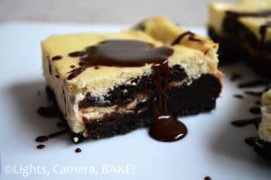 Chocolate Brownie Swirled Cheesecake Slice